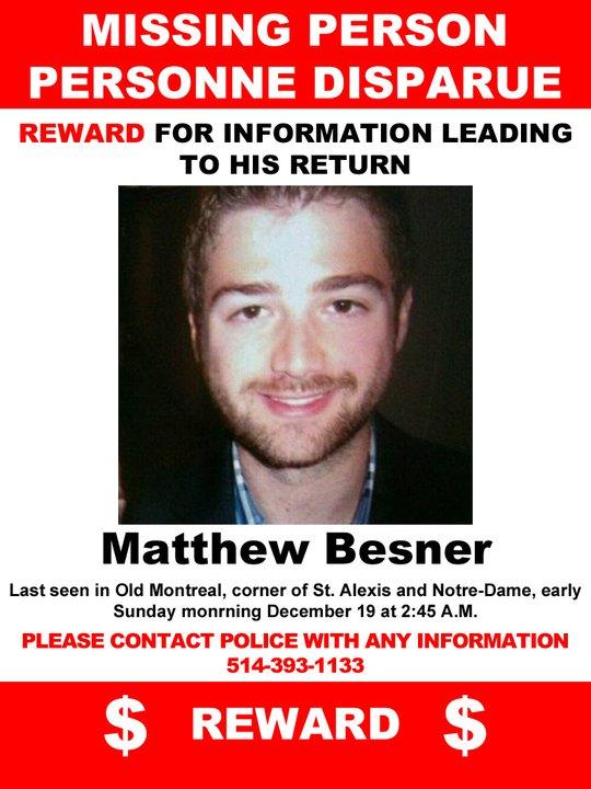 UPDATE: Matthew Besner's Body Discovered