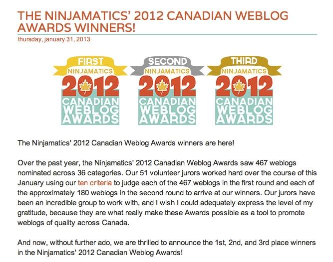 Women On The Fence® Wins Ninjamatics' 2012 Canadian Weblog Award